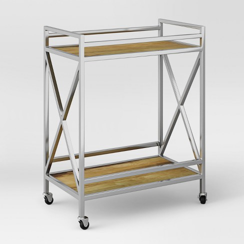 Maison Polished Chrome And Wood Bar Cart Embly Required Project 62 Target