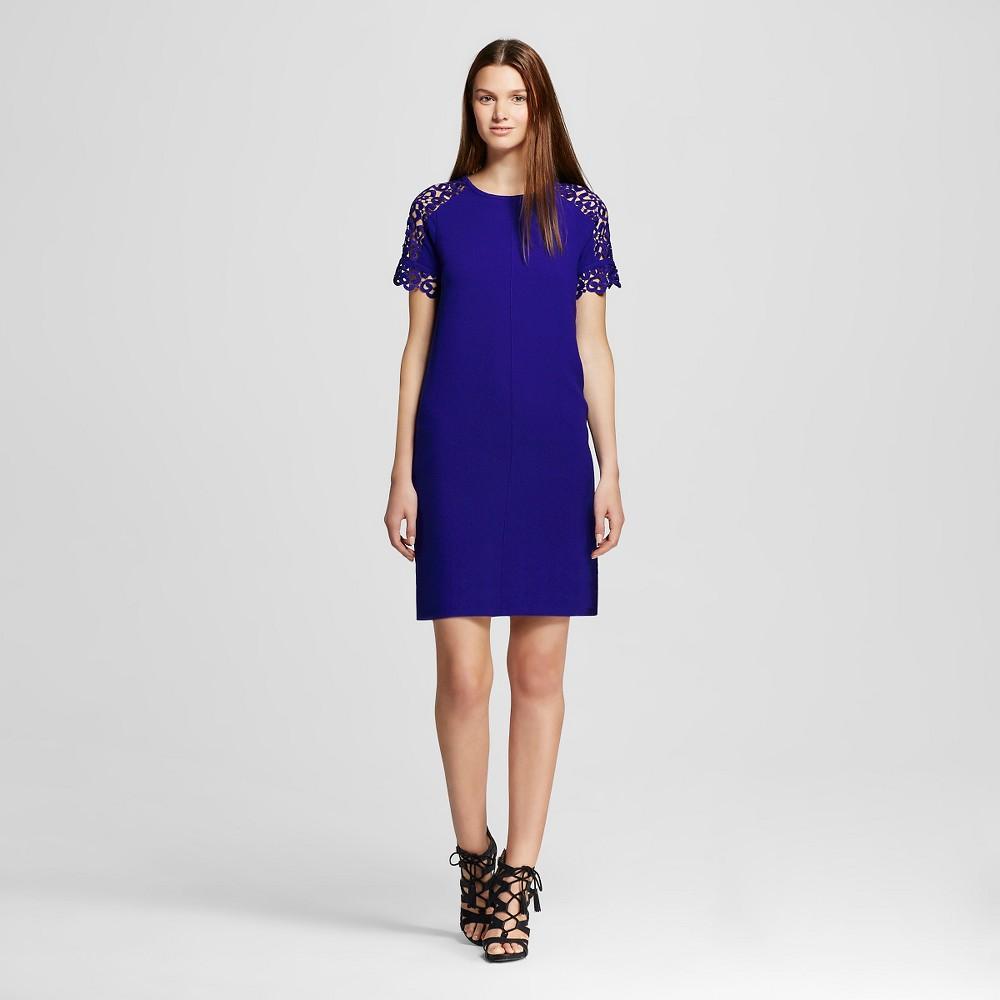 Women's Lace Shoulder Crepe Shift Dress Cobalt (Blue) L - Allen B