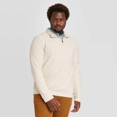 Men's Tall Regular Fit 1/4th Zip Sherpa Knit Sweatshirt - Goodfellow & Co™ Beige MT