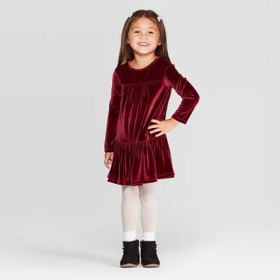 Toddler Girls' Long Sleeve Velour Dress - Cat & Jack™ Maroon 12M