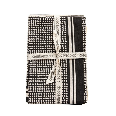 Cotton Tea Towels Set of 3 - Black - 3R Studios