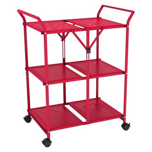 Dar® Folding Kitchen Cart - Red