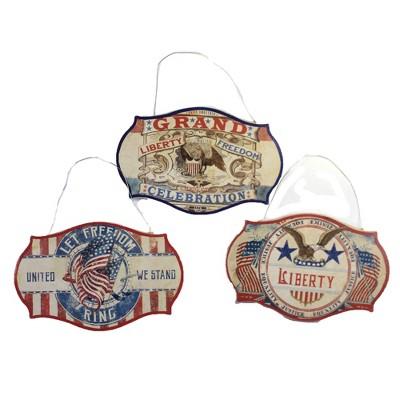 "Patriotic 3.0"" Americana Dummy Boards Set / 3 Ornament 4Th Of July Freedom  -  Tree Ornaments"