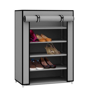 Home Basics 5 Tier Quick Set Up Portable Free-Standing Wardrobe 12 Pair Shoe Cabinet Closet Organizer with Fabric Shelves and Roll-Down Cover, Grey