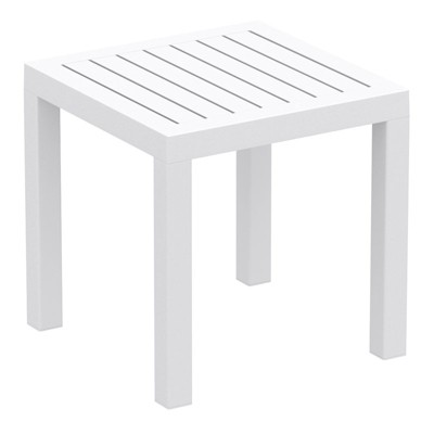 Ocean Square Resin Patio Side Table in White - Compamia