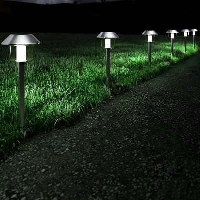 6pk 17  Solar Pathway LED Outdoor Stake Lights Stainless Steel - Pure Garden
