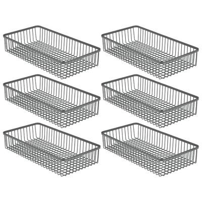 "mDesign Metal Kitchen Cabinet Drawer Organizer Tray, 12.1"" Long, 6 Pack"