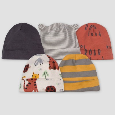 Gerber Baby Boys' 5pk Safari Caps - Off-White/Orange/Gray