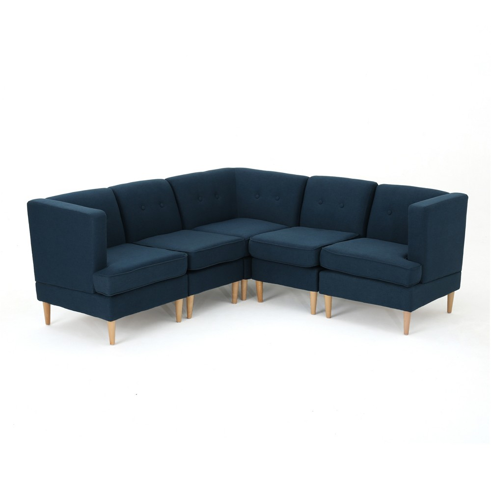 5pc Milton Sectional Sofa Set Navy Blue - Christopher Knight Home