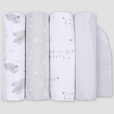 Gerber Baby 4pk Lamb Flannel Blanket - White/Gray