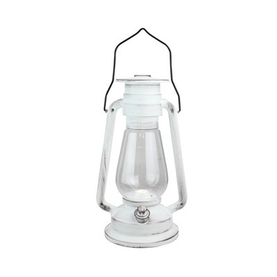 "Northlight 12"" Black Brushed White Traditional Lantern with Bright White LED Light"