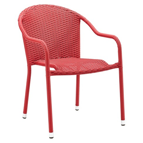 Crosley Palm Harbor Outdoor Wicker Stackable Chairs Set Of 4 Red Target