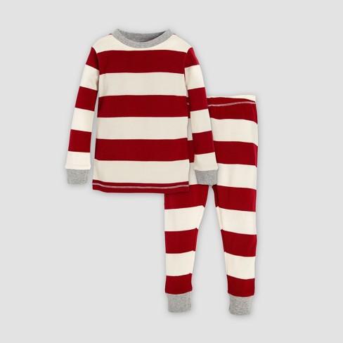 26d3d8455f4b Burt s Bees Baby Toddler Organic Cotton Rugby Stripe Pajama Set - Red  Off-White