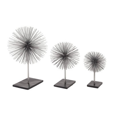 Set of 3 Round Metal 3D Star with Rectangular Base Silver/Black - Olivia & May