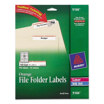 Avery Permanent File Folder Labels TrueBlock Inkjet/Laser Orange Border 750/Pack 5166