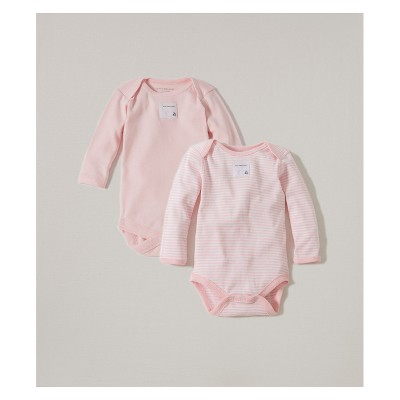 Burt's Bees Baby® Girls' Organic Cotton 2pk Long Sleeve Bodysuit Set - Blossom 0-3M