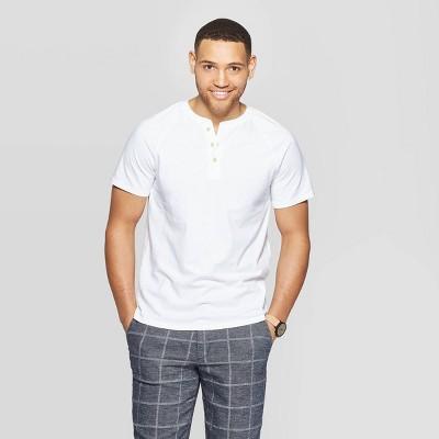 Men's Standard Fit Short Sleeve Henley T Shirt   Goodfellow &Amp; Co White by Shirt