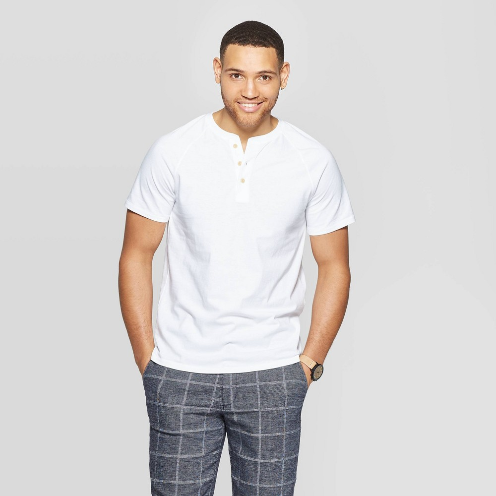 1920s Fashion for Men Mens Standard Fit Short Sleeve Henley T-Shirt - Goodfellow  Co White M $12.99 AT vintagedancer.com