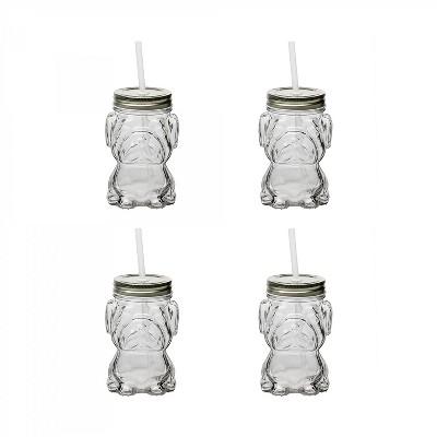 Amici Home Mad Dog Mason Drinking Jar, Silver, 14oz, Set of 4