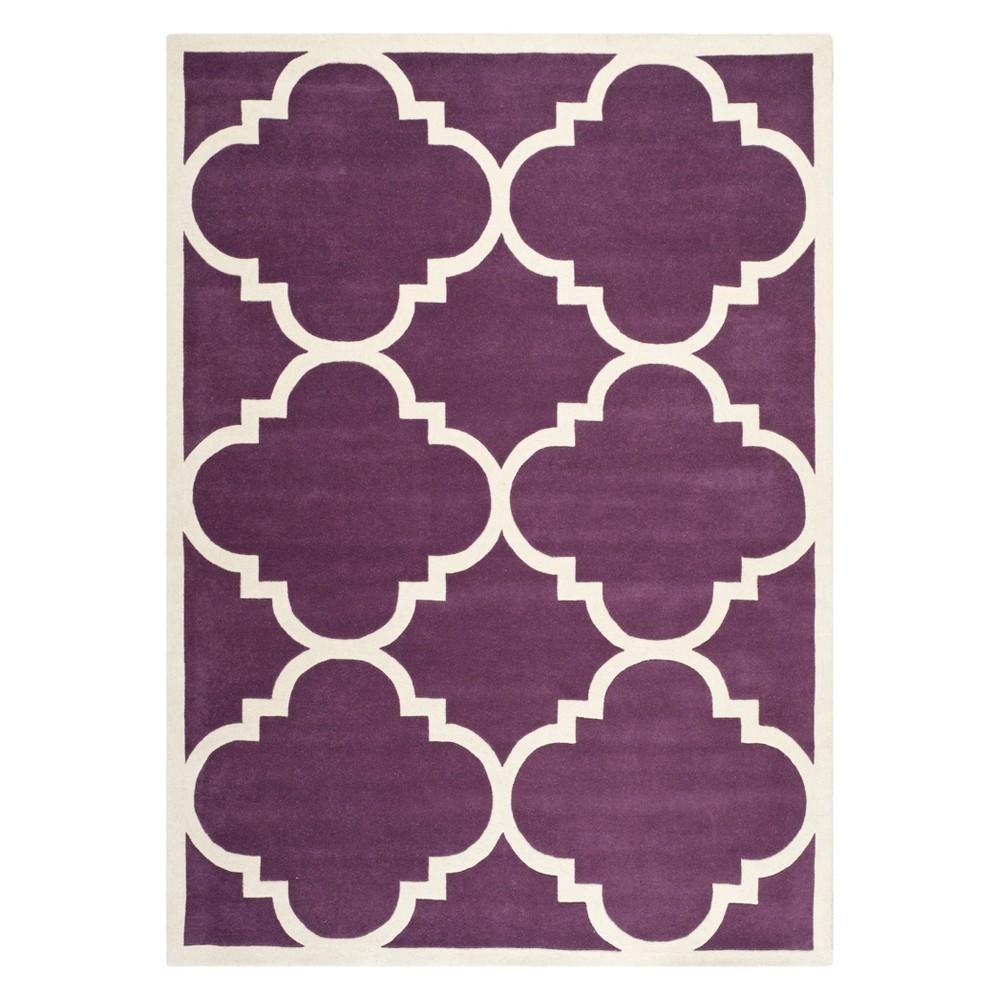 5'X8' Quatrefoil Design Tufted Area Rug Purple/Ivory - Safavieh