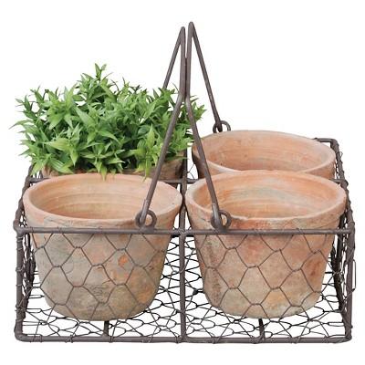 """Square 9.3"""" x 9.3"""" x 3.4"""" - 4 Handmade Terracotta Pots In Wire Basket - Brown - Esschert Design"""
