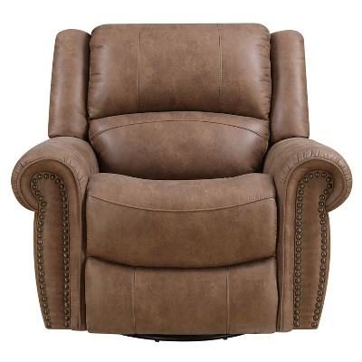 Wallace & Bay Spencer Faux Leather Oversized Swivel Glider Lounge Recliner Chair w/ Spring Frame, Foam Cushion,  Pillow Back, and Nailhead Trim, Brown