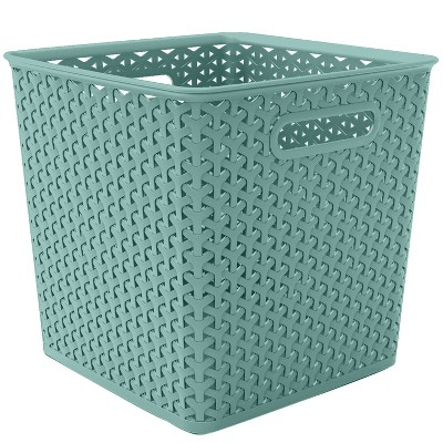 "11"" Y Weave Cube Turquoise - Room Essentials™"