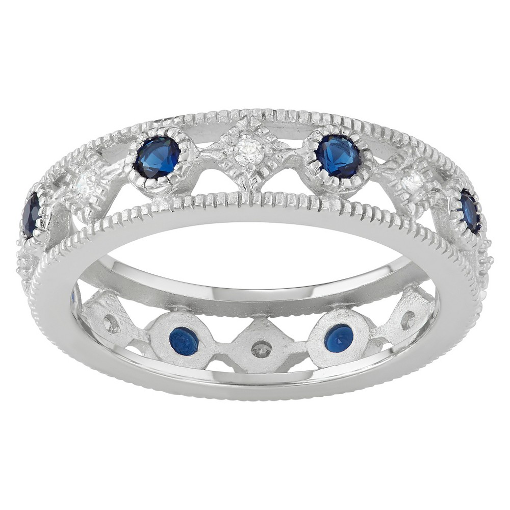 4/5 CT. T.W. Round-Cut CZ Pave Set Fashion Band in Sterling Silver - Blue, 5, Girl's