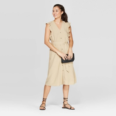Women's Ruffle Short Sleeve V-Neck Button Front Midi Dress - A New Day™ Khaki L