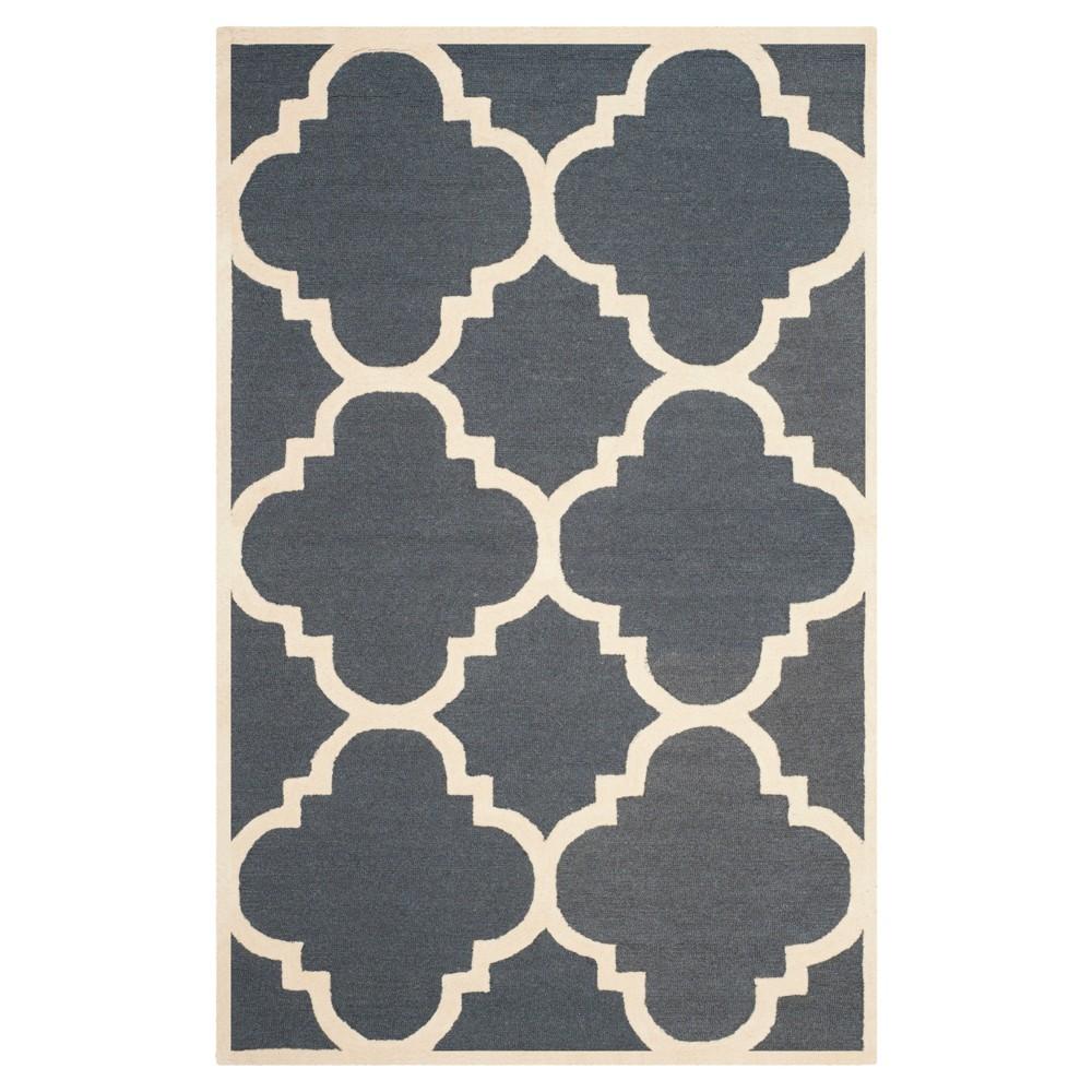 Landon Texture Wool Rug - Dark Gray / Ivory (5' X 8') - Safavieh, Dark Gray/Ivory