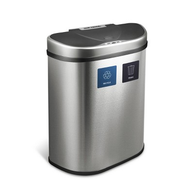 Nine Stars 18.5gal Motion Sensor D-Shape Stainless Steel Recycling Trash Can
