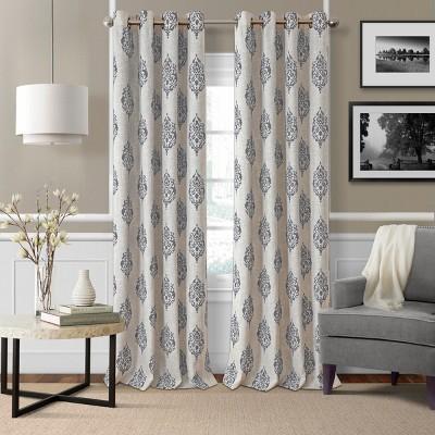 Navara Medallion Room Darkening Window Curtain Panel - Elrene Home Fashions