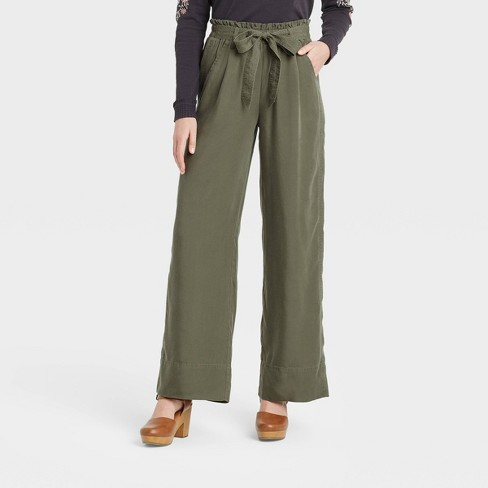 Women's Mid-Rise Tie-Waist Wide Leg Pants - Knox Rose™ - image 1 of 3