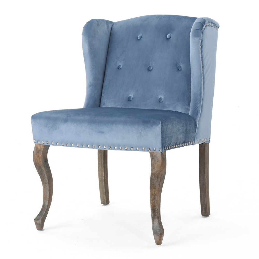 Niclas New Velvet Accent Chair - Icy Blue - Christopher Knight Home, Ice Blue