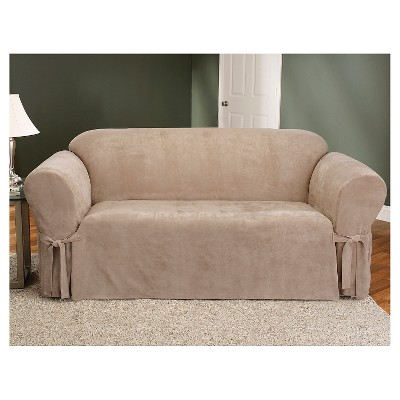 Soft Suede Sofa Slipcover Taupe   Sure Fit : Target