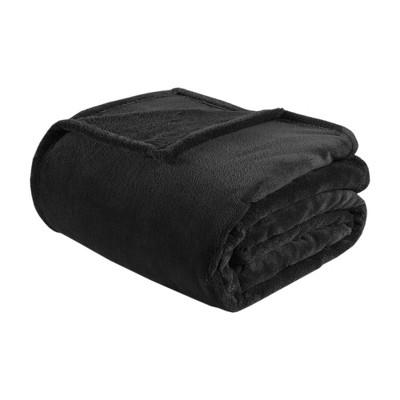 Microlight Plush Solid Brushed Blankets Black