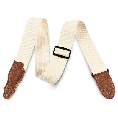 """Franklin Strap 2"""" Natural Cotton Guitar Strap with Leather Ends"""