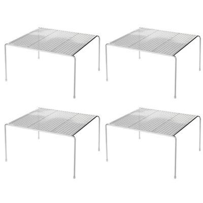mDesign Metal Square Kitchen Organizer Storage Shelves, 4 Pack