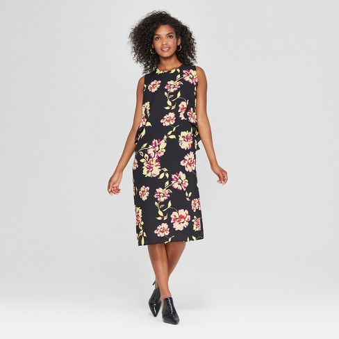 Women's Floral Print Sleeveless Ruffle Midi Dress - Who What Wear™ Black - image 1 of 3