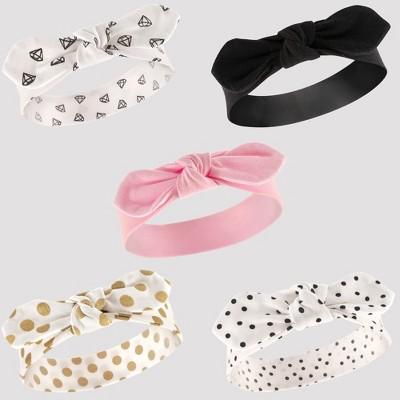 Hudson Baby Girls' 5pk Headbands, Dots - Gold 0-12M