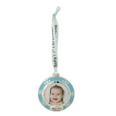 """Northlight 3"""" Blue and Silver Baby's First Christmas Ornament"""