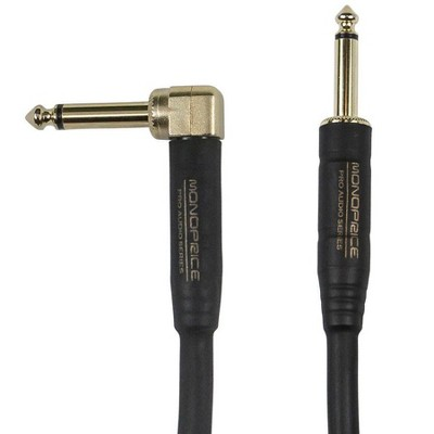 Monoprice Braided Cloth 1/4 Inch (TS) Male Straight to Right Angle 20AWG Guitar/Instrument Cable Cord - 20 Feet- Blue Pattern (Gold Plated)