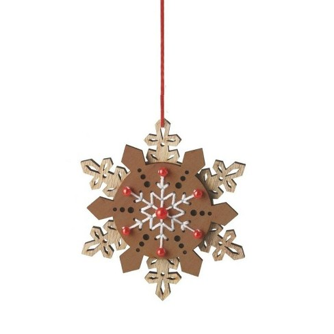 """Ganz 5"""" Country Rustic Style Snowflake Christmas Ornament - Chic Brown/Red - image 1 of 1"""