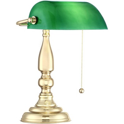 "360 Lighting Traditional Piano Banker Desk Table Lamp 14"" High Brass Plating Green Glass Shade for Bedroom Bedside Office"