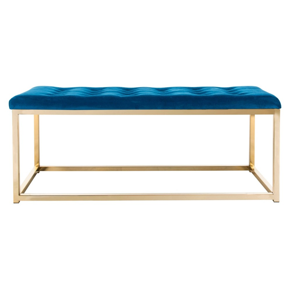 Reynolds Bench Navy (Blue)/Brass - Safavieh