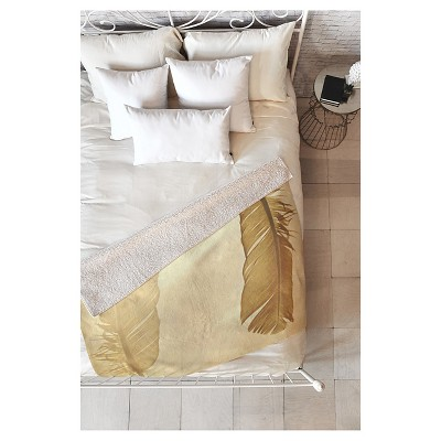 """Beige Nature Shannon Clark Side By Side Sherpa Throw Blanket (50""""X60"""")- Deny Designs"""