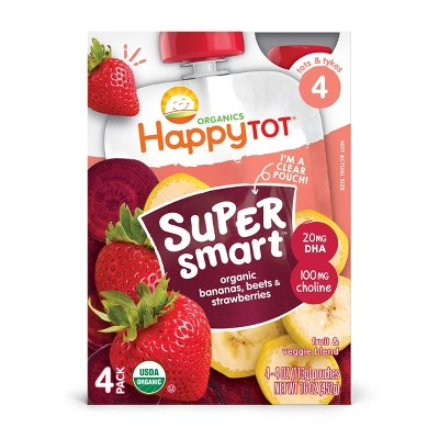 HappyTot Super Smart 4pk Organic Bananas Beets & Strawberries Baby Food Pouch - 16oz