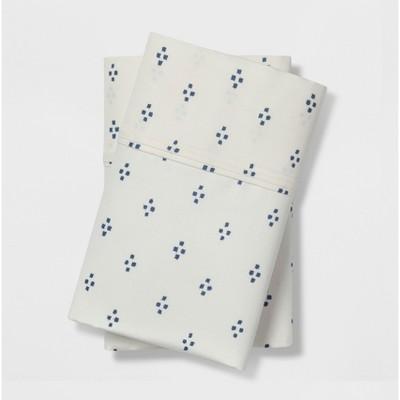 Standard 400 Thread Count Dot Print Performance Pillowcase Set White/Blue Dot - Threshold™