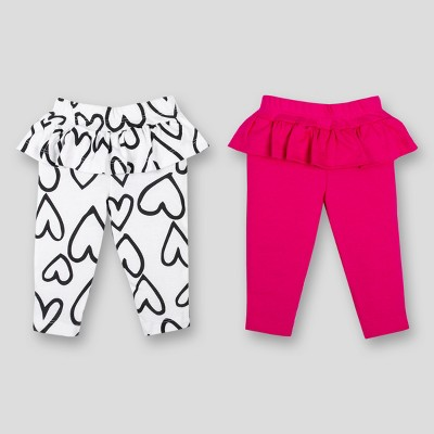 Lamaze Baby Girls' 2pk Organic Cotton Ruffle Pants - Pink 3M