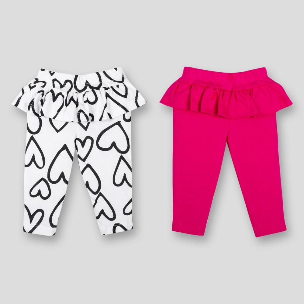 Lamaze Baby Girls' 2pk Organic Cotton Ruffle Pants - Pink 9M